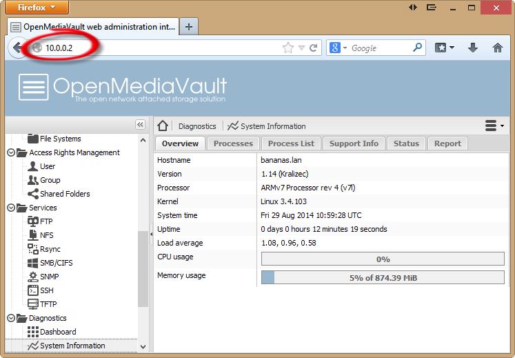Setting up Open Media Vault on a Banana Pi - Linux - banana
