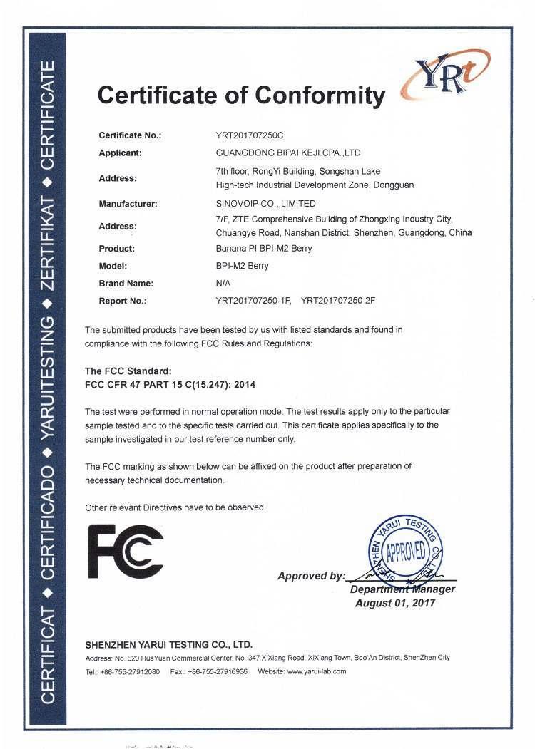 BPI-M2 Berry CE FCC RoHS Certification - BPI Documents