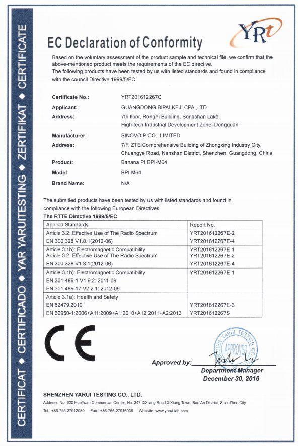 BPI-M64 CE FCC RoHS Certification - BPI Documents - banana pi single ...
