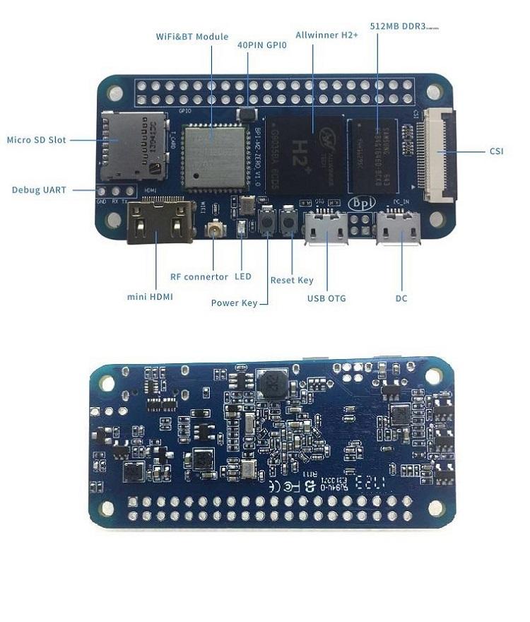 Banana pi BPI-M2 Zero quad core singel-board computer with Allwinner