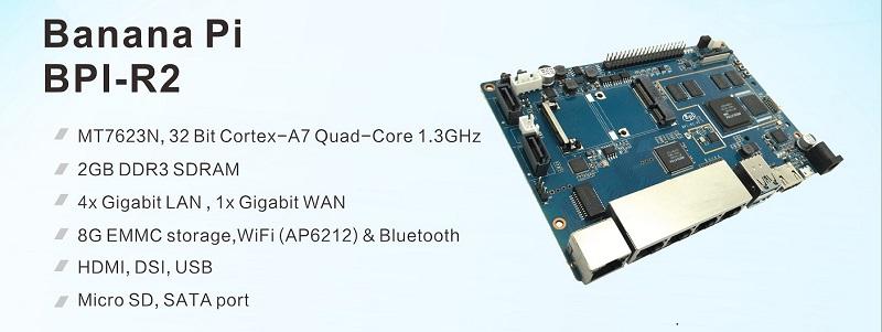 Banana Pi BPI-R2 Open Source smart router with MTK 7623N design