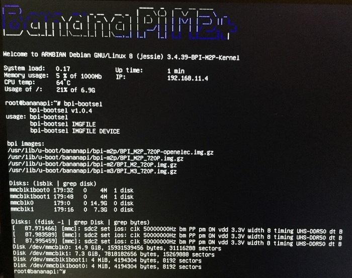 BPI-M2+ new image: Debian-8-jessie-lite-bpi-m2p-sd-emmc img