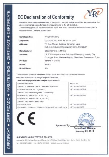 BPI-R2 smart router board CE FCC RoHS Certification - BPI Documents ...