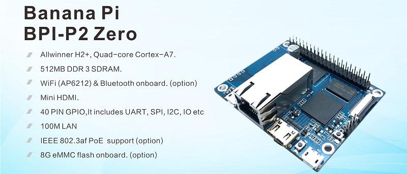 BPI-P2 Zero quad core single-board computer with PoE support for IoT