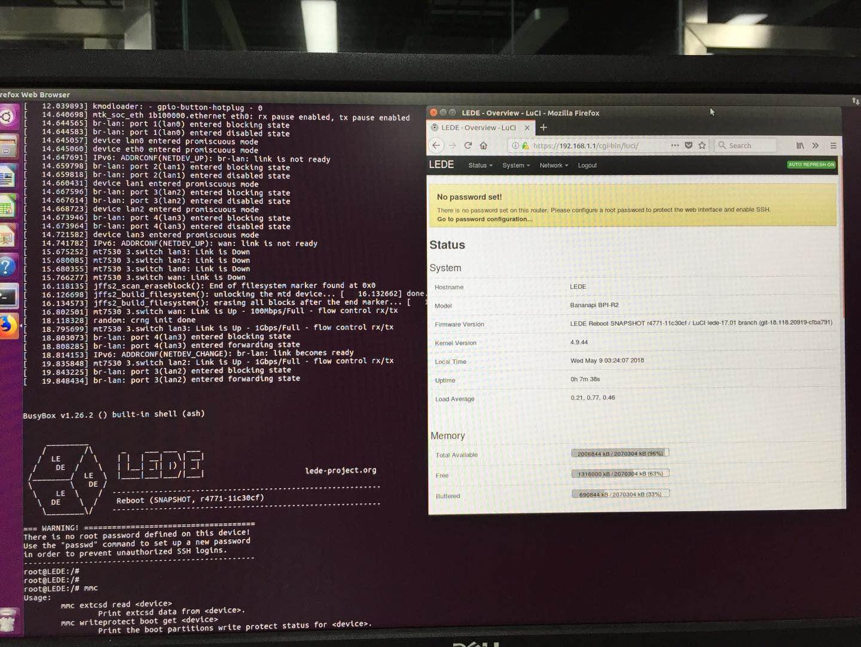 BPI-R2 new image: BPI-R2 OpenWrt(LEDE) Souce code : 2018-05